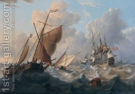 A British Man Of War And Dutch Barges by Charles Martin Powell - Reproduction Oil Painting