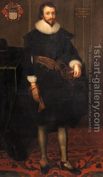 Portrait Of Sir Thomas Bowes (1596-1676) by (after) Daniel Mytens - Reproduction Oil Painting