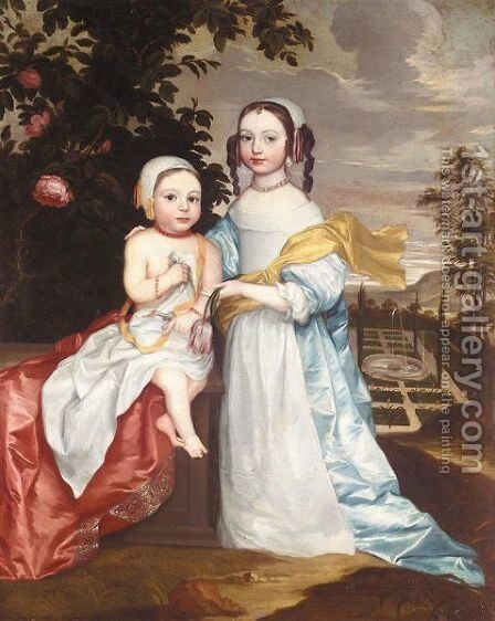 Portrait Of Two Children by (after) John Hayls - Reproduction Oil Painting