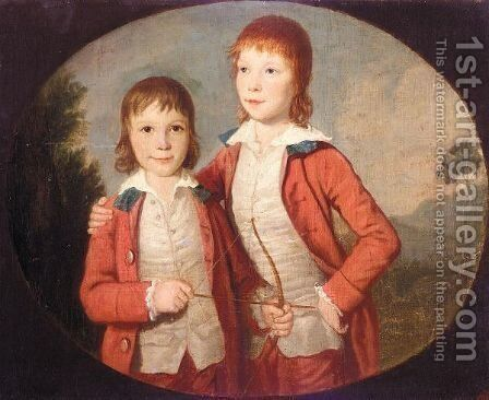Portrait Of Two Boys by David Allan - Reproduction Oil Painting