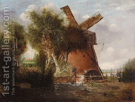 A Norfolk Landscape With A Windmill by Alfred Stannard - Reproduction Oil Painting