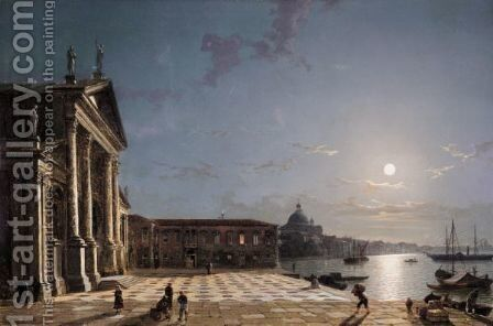 Unloading Cargo From The Grand Canal, Venice, By Moonlight by Henry Pether - Reproduction Oil Painting
