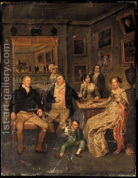 A Family Portrait by (after) Edward Bird - Reproduction Oil Painting