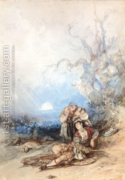 The Dying Chieftain by David Roberts - Reproduction Oil Painting