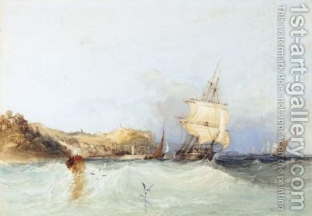 Shipping Off Scarborough by Charles Bentley - Reproduction Oil Painting
