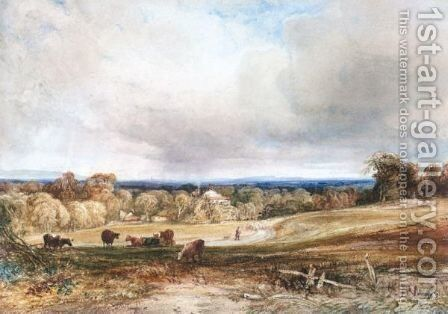 A Shepherd And His Flock On A Country Track, An Extensive View Beyond by Anthony Vandyke Copley Fielding - Reproduction Oil Painting