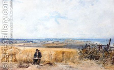 A Labourer At Lunch In A Cornfield Near Herne Bay, Kent by (after) Thomas Lound - Reproduction Oil Painting