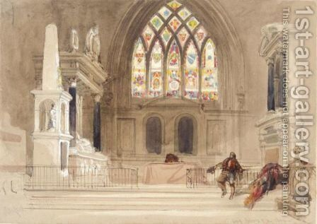 The Interior Of Stanford On Avon Church, Leicestershire by David Roberts - Reproduction Oil Painting