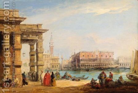 A View Across The Grand Canal From The Old Customs House, Venice by Edward Pritchett - Reproduction Oil Painting