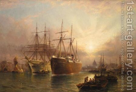 The Thames At Greenwich by Claude T. Stanfield Moore - Reproduction Oil Painting