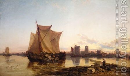 Sailing Vessels At Low Tide by James Webb - Reproduction Oil Painting