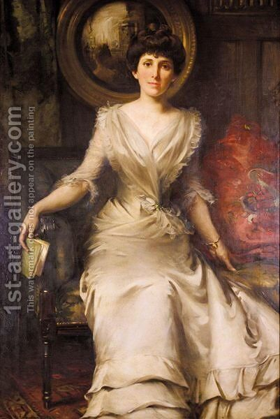 Portrait Of A Lady by Sir William Samuel Henry Llewellyn - Reproduction Oil Painting