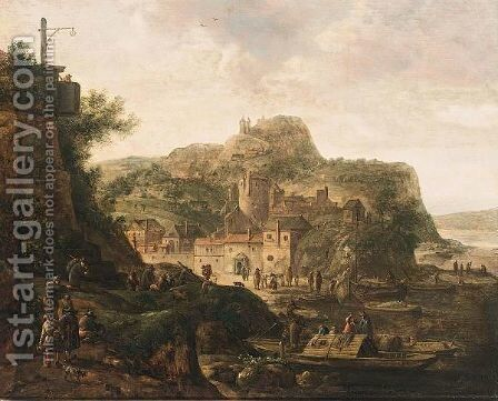 Riverlandscape With Figures Near A Town by Herman Saftleven - Reproduction Oil Painting
