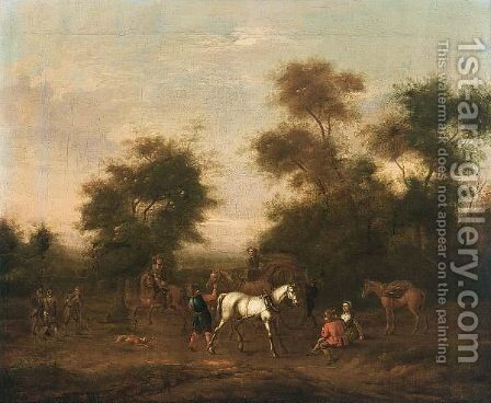 Peasant With Cattle Resting By A River by Jacob van Strij - Reproduction Oil Painting