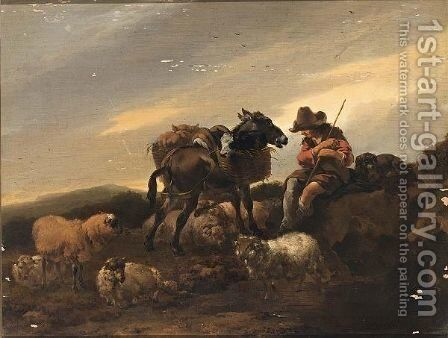 A Herdsman With His Herd Resting by (after) Nicolaes Berchem - Reproduction Oil Painting