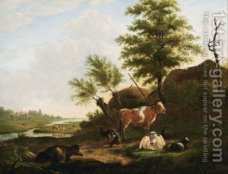 Cattle In An Extensive Landscape by Jacob Van Kouwenhoven - Reproduction Oil Painting