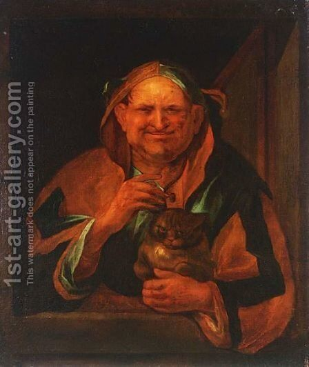 A Jester With His Cat by Continental School - Reproduction Oil Painting