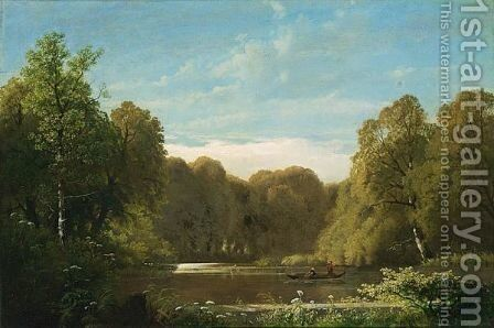 Figures Near A Pond by Dutch School - Reproduction Oil Painting