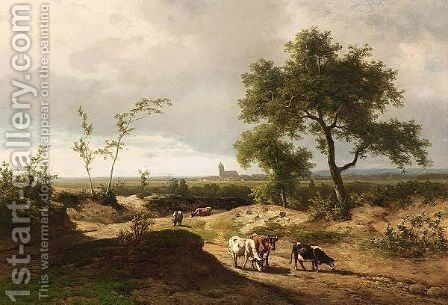 A Summer Landscape With Cows In A Hilly Landscape by Alexander Joseph Daiwaille - Reproduction Oil Painting