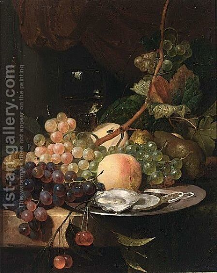 A Still Life With A Roemer And Grapes With Peaches On A Silver Plate by Dutch School - Reproduction Oil Painting