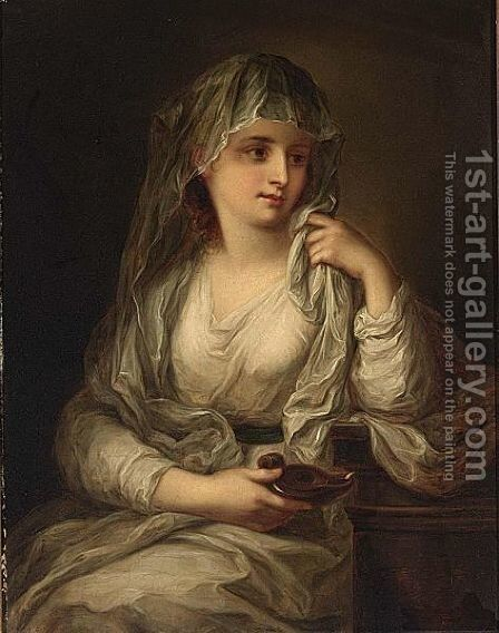 Portrait Of A Lady As One Of The Vestal Virgins by Cornelis Kruseman - Reproduction Oil Painting