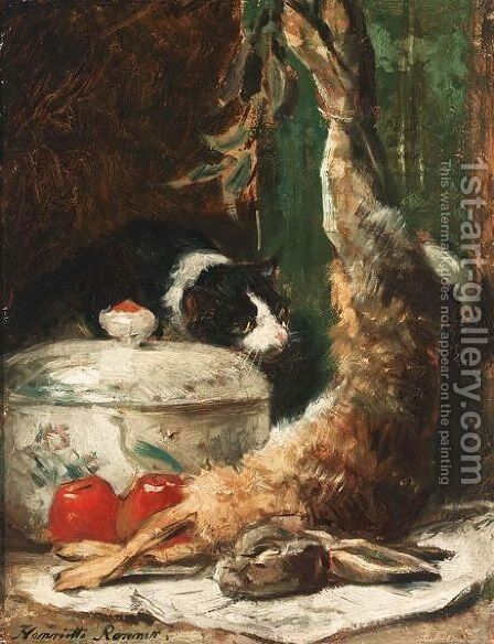 Inspecting The Catch by Henriette Ronner-Knip - Reproduction Oil Painting