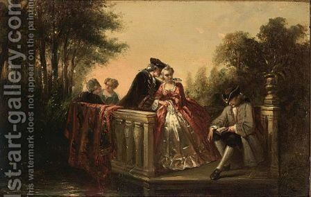 Elegant Couple by Continental School - Reproduction Oil Painting
