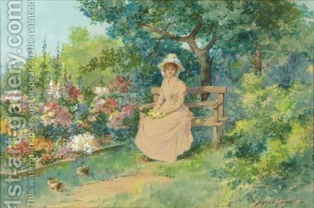 End Of The Garden by Abbott Fuller Graves - Reproduction Oil Painting