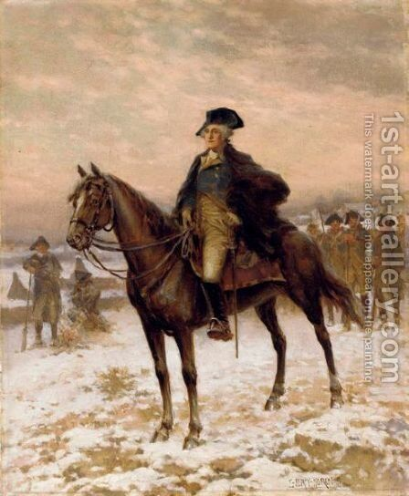Washington At Valley Forge by Edward Percy Moran - Reproduction Oil Painting