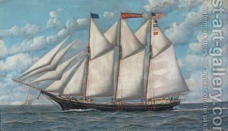 Schooner Olive by Antonio Jacobsen - Reproduction Oil Painting