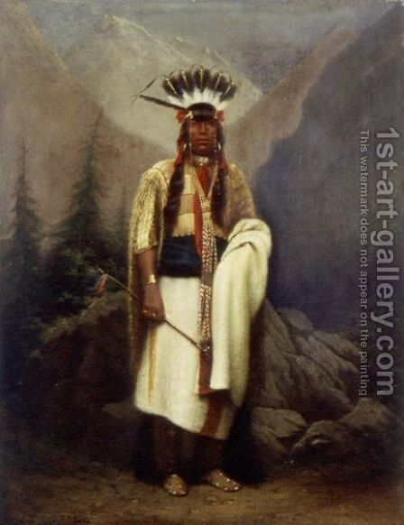 Portrait Of A Chief, In The Manner Of An Upper Missouri River Indian (Possibly Mandan) by American School - Reproduction Oil Painting