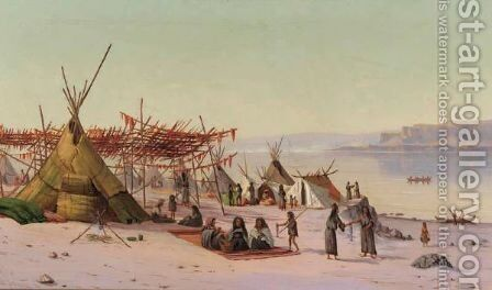 Indian Camp On The Columbia, Near Celilo, Oregon by James E. Stuart - Reproduction Oil Painting