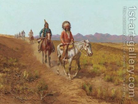 Indians On Horses Riding Along A Trail by Charles Craig - Reproduction Oil Painting