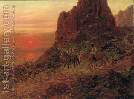 Apaches Scouting In Mountains, Sunset by Henry Raschen - Reproduction Oil Painting