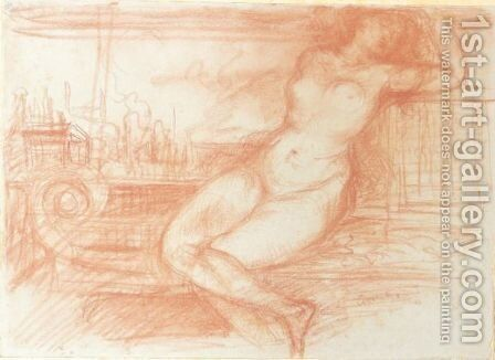 Nude Woman On A Sofa by Charles Edward Conder - Reproduction Oil Painting