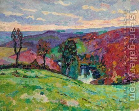 La Vallee De La Creuse Et Le Puy Barriou by Armand Guillaumin - Reproduction Oil Painting