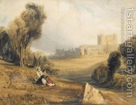Figures in the castle grunds by English School - Reproduction Oil Painting