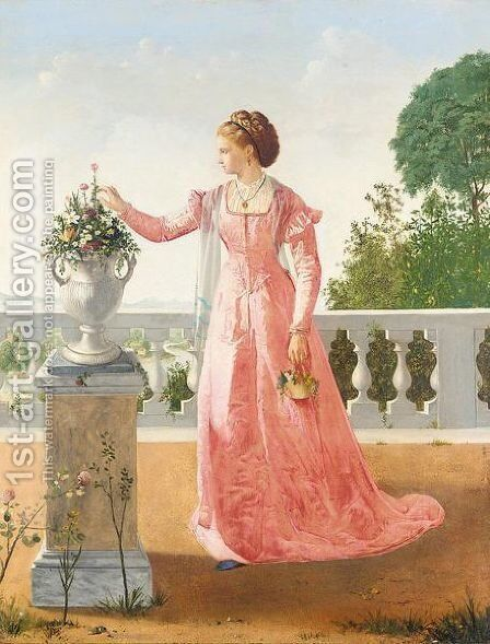 Portrait of a lady in pink satin dress, standing on a veranda by Henry Thomas Schafer - Reproduction Oil Painting