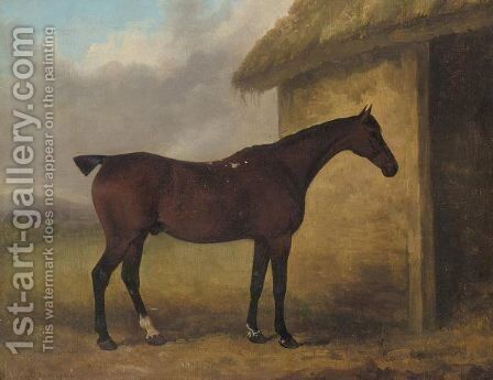 A hunter by a stable by James Barenger - Reproduction Oil Painting