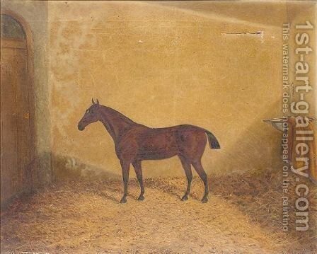 Bay hunter in a stable by James Senior Clark - Reproduction Oil Painting