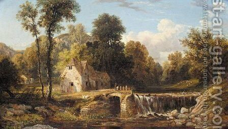 By the waterfall by Henry Hewitt - Reproduction Oil Painting