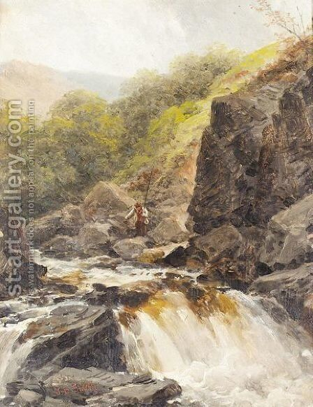 The waterfall by James Burrell Smith - Reproduction Oil Painting