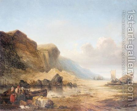 Fishing boats at low tide by (after) William Joseph Shayer - Reproduction Oil Painting