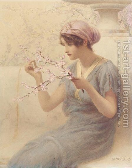 Almond blossom 2 by Henry Ryland - Reproduction Oil Painting