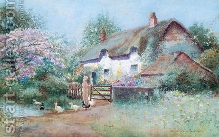 Country cottage with ducks by Arthur Wilkinson - Reproduction Oil Painting