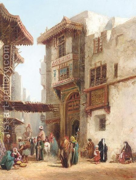 Eastern town square by Henry Pilleau - Reproduction Oil Painting