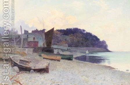 Boats moored on the beach by Arthur Claude Strachan - Reproduction Oil Painting