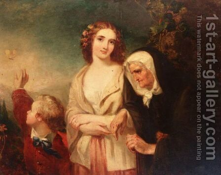 Lady with mother and child by Marshall Claxton - Reproduction Oil Painting