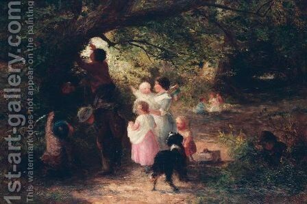 Children at play by Charles James Lewis - Reproduction Oil Painting