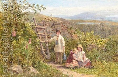 Children in a summer landscape by (after) George Wells - Reproduction Oil Painting